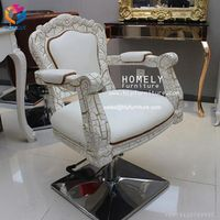 Beauty salon gold pink styling chair