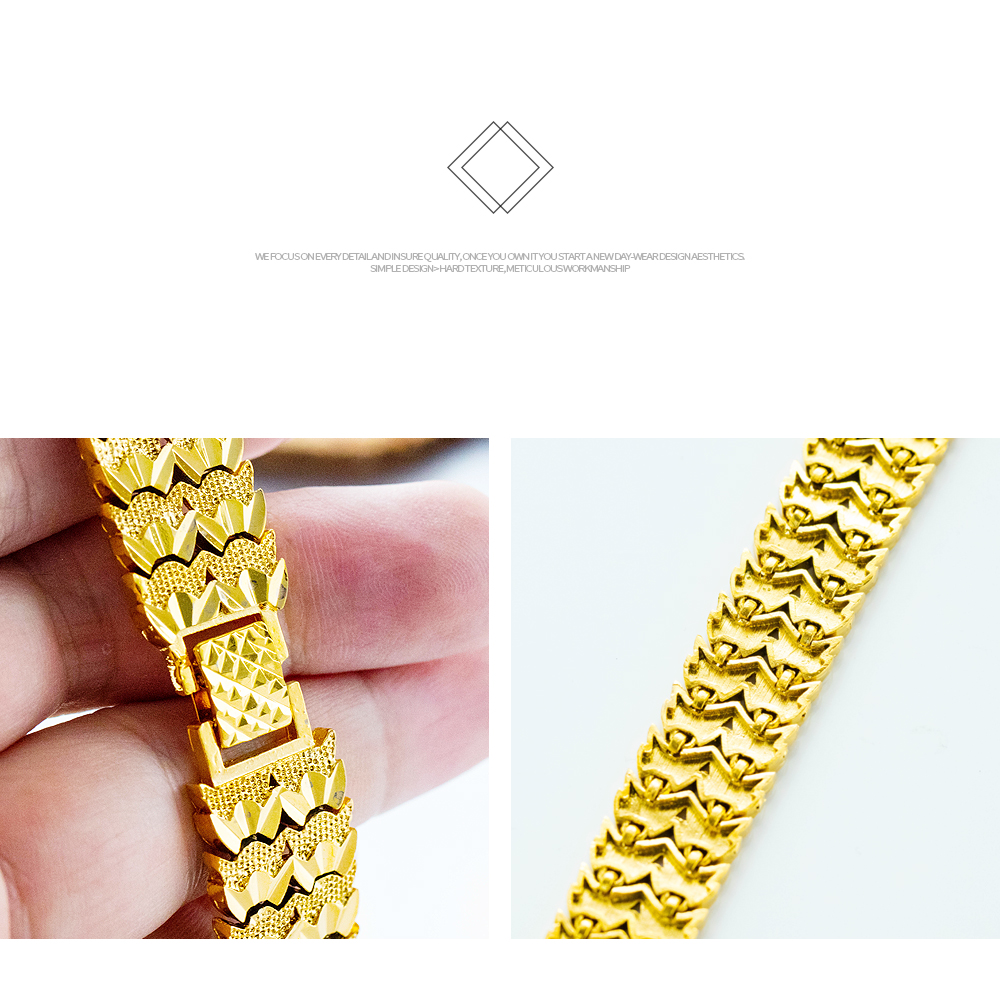 Personalized Custom 18K Gold Plated Copper Mens Chain Bracelet