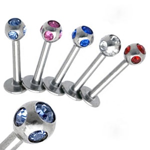 Stainless Steel Multi Gem Ball 16g Labret Piercing Jewelry Helix Piercing