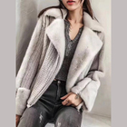 Women Winter Real Mink Fur Coat Cashmere Wool Sweater Genuine Knitted Mink Fur Jacket
