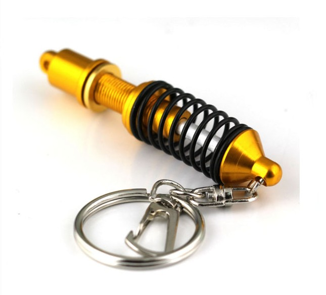 Automotive shock absorber shape keychain, metal adjustable coilover key chain key ring