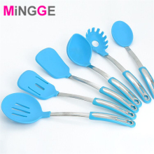 new cute colourful stainless steel Kitchen Cooking Silicone Utensils Set