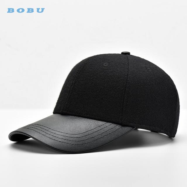 9511c86a0 custom raised embroidery logo black leather brim baseball cap for men