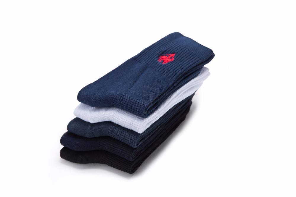 Double needle embroidery logo cotton socks men's tube socks wholesale