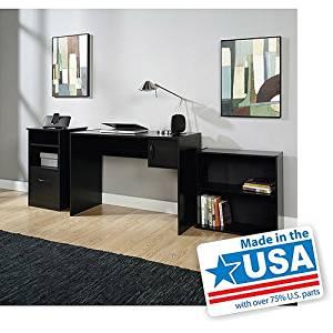 3-piece, Mainstays, Home Office Furniture Value Bundle, Computer Workstation, Desk, Adjustable Shelf Bookcase, Storage Cabinet with Adjustable Shelf and File Drawer, Black, Contemporary Elegant Finish