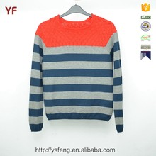 Fashion Couple Pullover Navy Gery Striped Color Combination Sweater