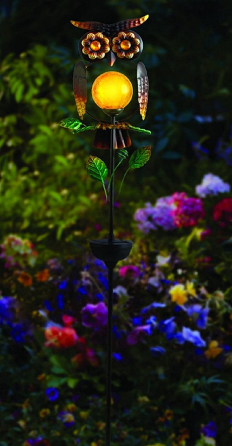 Charmant Get Quotations · Solar Light Powered Owl Garden Led Statue Outdoor Stake  Decor Patio Lawn Yard .#GH45843