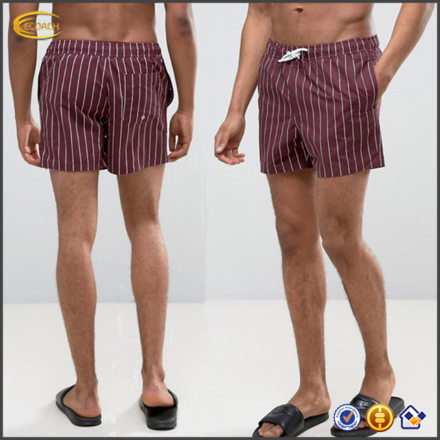 ba12b6a70e New 2017 OEM Custom Print 100% Polyester mesh lining swim trunks Wholesale  Burgundy Stripe summer