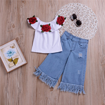 hot sell kid girls clothes new white rose tops + jeans pants 2pcs baby girl clothes Europe style Boutique girls clothing