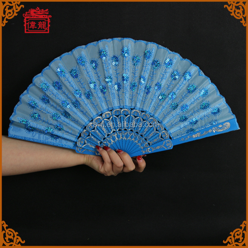 Wholesale Blue Plastic Peacock Sequins Hand Fans Sticks for wedding GYS904-2