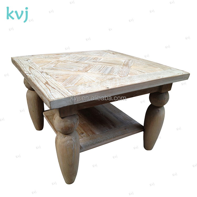 KVJ-7343 china made french vintage square retro wood coffe table