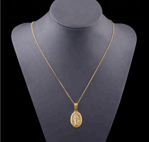 Hiphop Virgin Mary 18 k Gold Color Cross Christian Pendant Necklaces For Women Jewelry