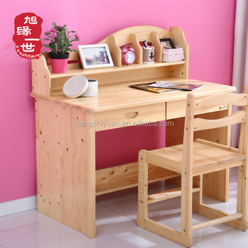 Kids Study Room Furniture Wooden Children Emble Table With Shelf Bookcase And Chair