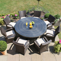 Aluminum Rattan Outdoor Furniture Round Dining Table And 8 Chairs Heavy-duty Dining Table and Chairs
