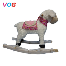 Outdoor playful wooden plush balanced rocking horse handles toy for children