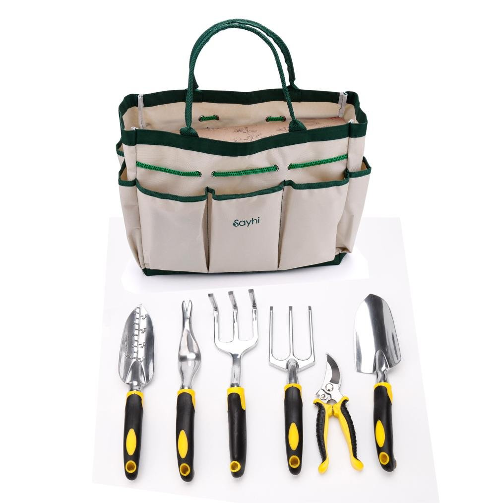 Sinma 7 Piece All-In-One Garden Tool Set, Durable Heavy Duty Aluminum Alloy Comfortable Handles Gardening Kits Includes 6 Tools Cast-aluminum Heads and 1 Garden Tote