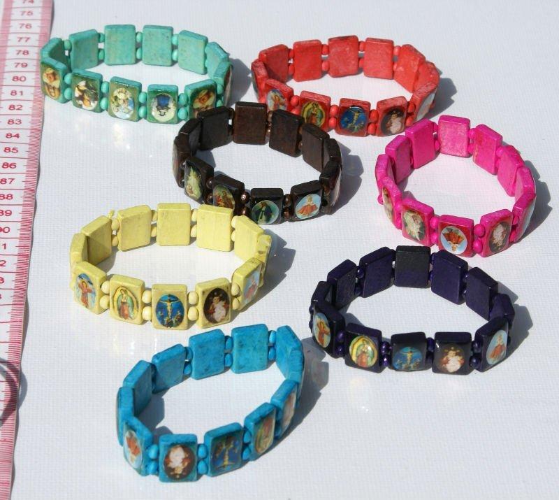 Wooden Beaded Bracelet Catholic Religious Church Saint Icon Jewelry Art Whole Fashion Natural Bracelets Costume