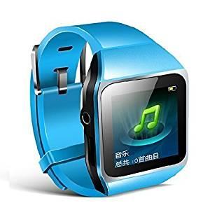 "Allreadytech Intelligent Watch Bluetooth Mp3 Music Player 8GB with 1.5"" Touch Screen Support Bluetooth Fm Pedo Meter World Clock Function (Blue)"