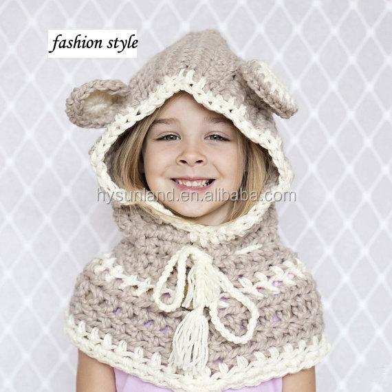 W-345 Oso Hecho A Mano Crochet Cowl Capucha De Punto Cabo Oso ...