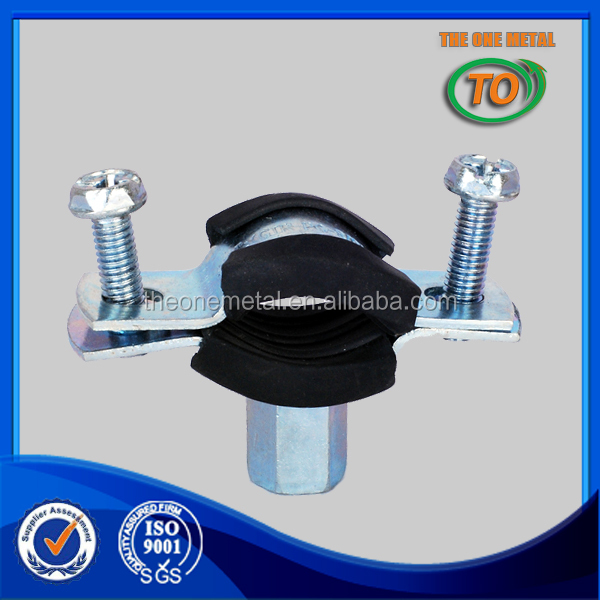 zinc coated Heavy duty pipe clamps with rubber
