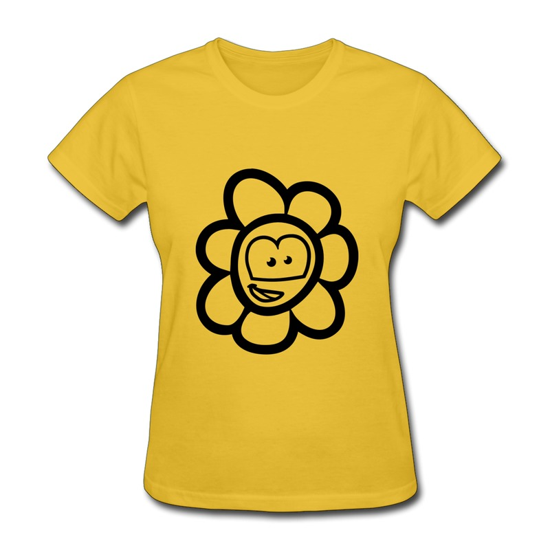 Print Regular Teeshirt Women grin flower 1 Love Shapes Tshirts for Womens No Minimums