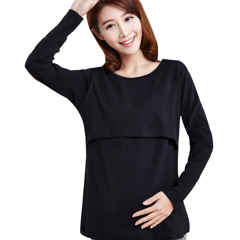 Maternity Breastfeeding Nursing Shirts Pajamas Long Sleeve Pregnant Women Sleepwear Tops Clothes Pregnancy Lactancia Nightgown