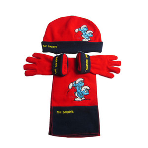 3c023215484 kids cute polar fleece hat scarf and glove set with good embroidery