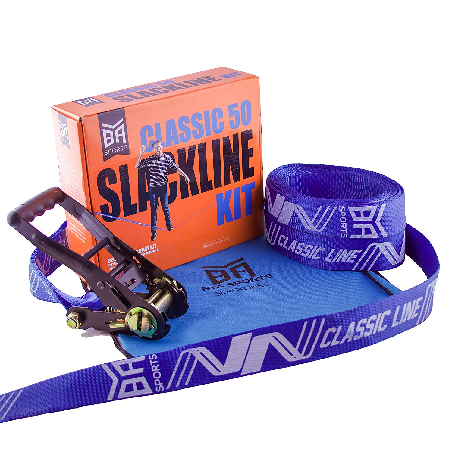 Bring Your Adventure Sports BYA Classic Line - 50ft or 85ft Beginner Slackline Kit with Carry Bag and Instructions