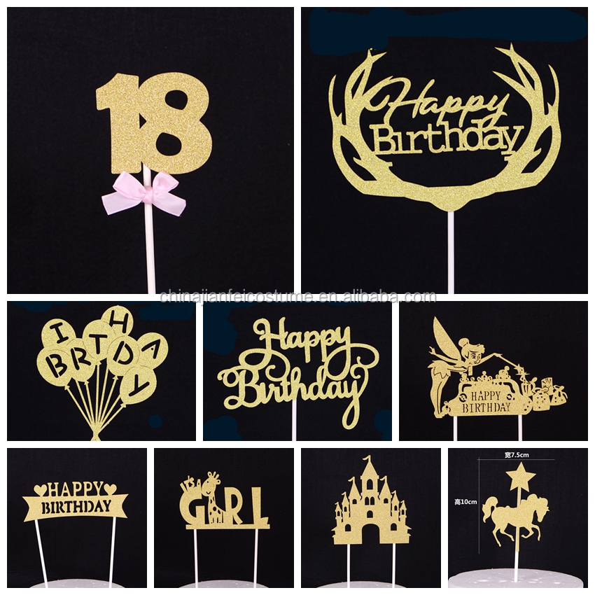 Happy birthday 18th bling birthday cake topper monogram cake topper for home decoration