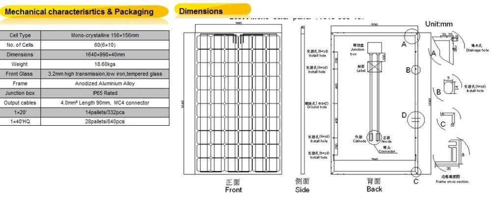 High Efficiency China Manufacturing 250w Tata Solar Panel