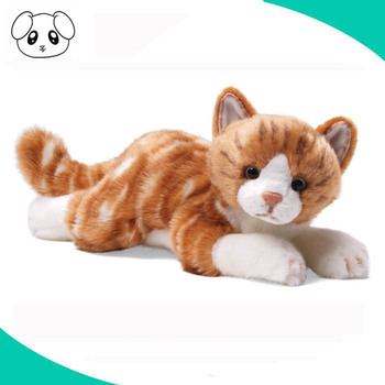 Realistic Orange Kitten Toy 10 Inch Plush Animal Stuffed Tabby Cat