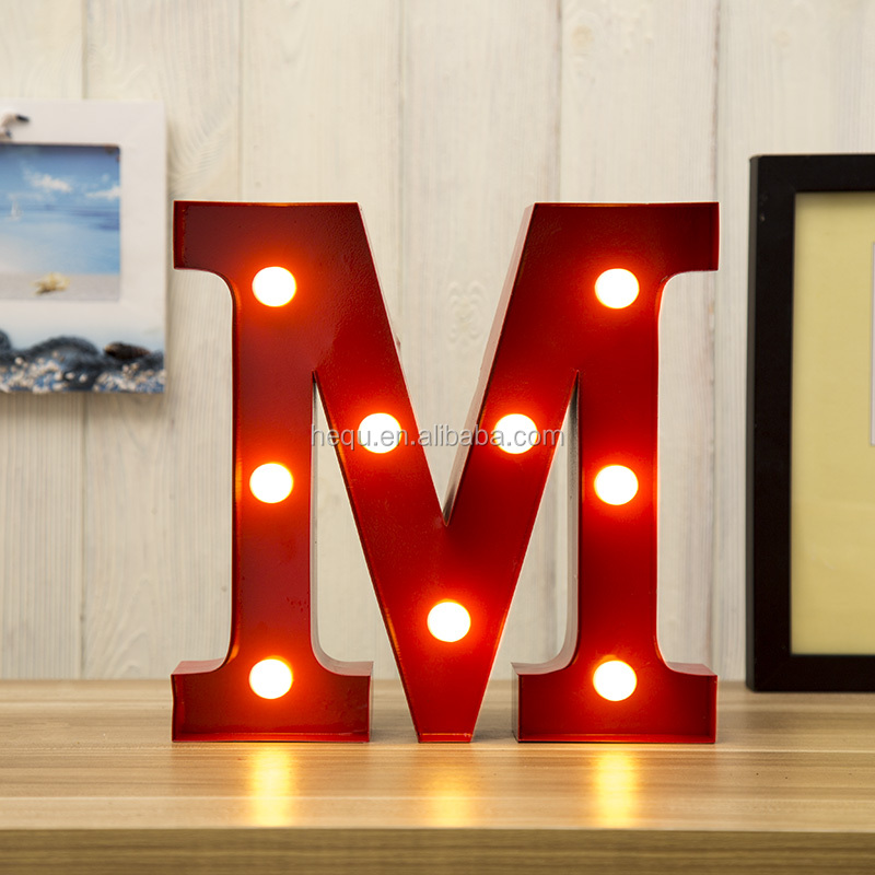 Metal Christmas Decoration Vintage Letters Marquee Led Light
