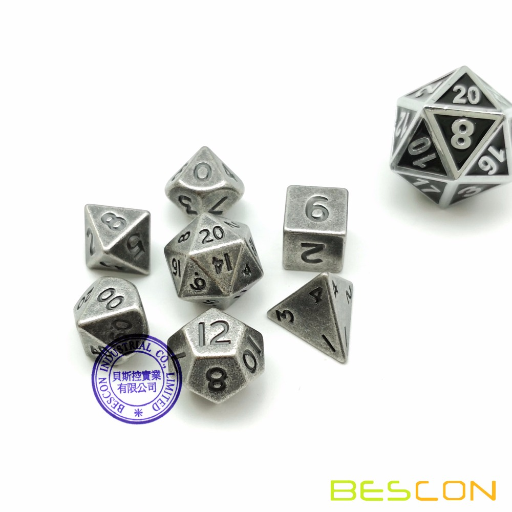 Bescon 10 MM Mini Metallo Solido Dadi Set Vecchio Nichel, antico Mini Metallic Poliedrici D & D RPG Miniature Dadi 7-sets