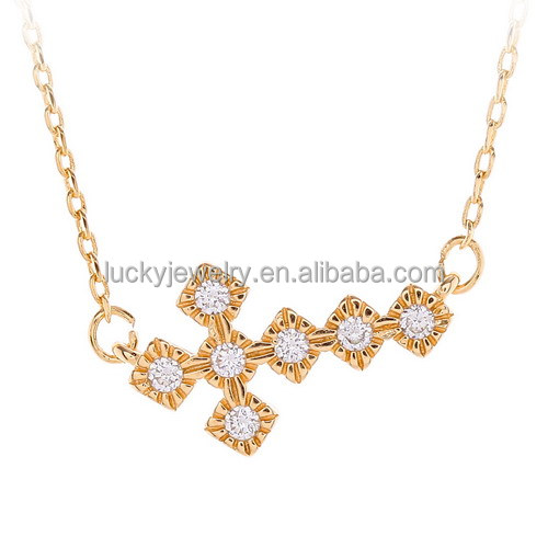 neclace jewelry wholesale 24k gold plated cubic zircon pave brass gold necklace design for girls