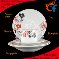 High Quality fashion light weight hand painted luxury porcelain Dinner Set