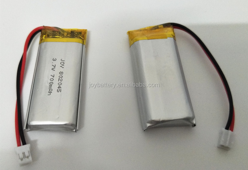 Lipo 802045 3.7V 700mAh lithium ion li polymer battery pack with pcb and connector