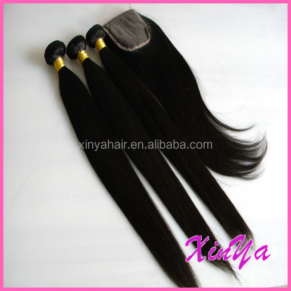 Wholesale Mink Brazilian Hair Bundles jet black straight human hair with closure