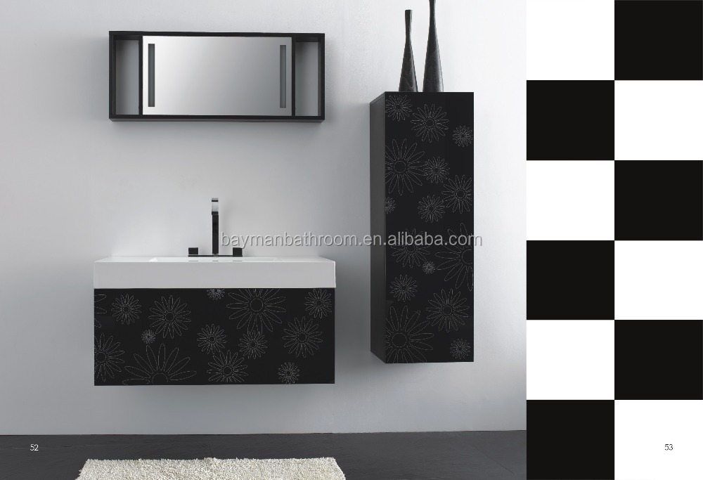 Modern high gloss black bathroom vanity top basin cabinet (Fit-1000)