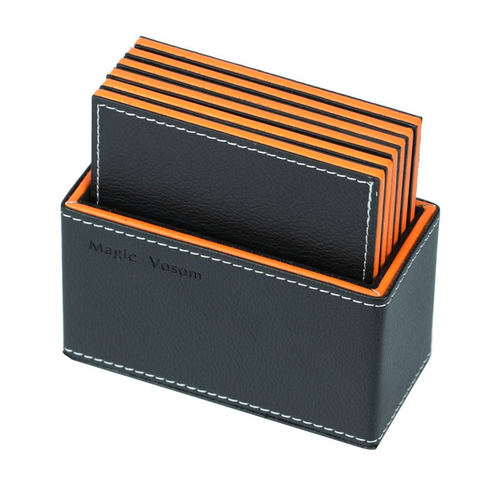 Magic Vosom Multi-layer Complex Faux Leather Drink Coaster Cup Mat Black and Orange Set of 6