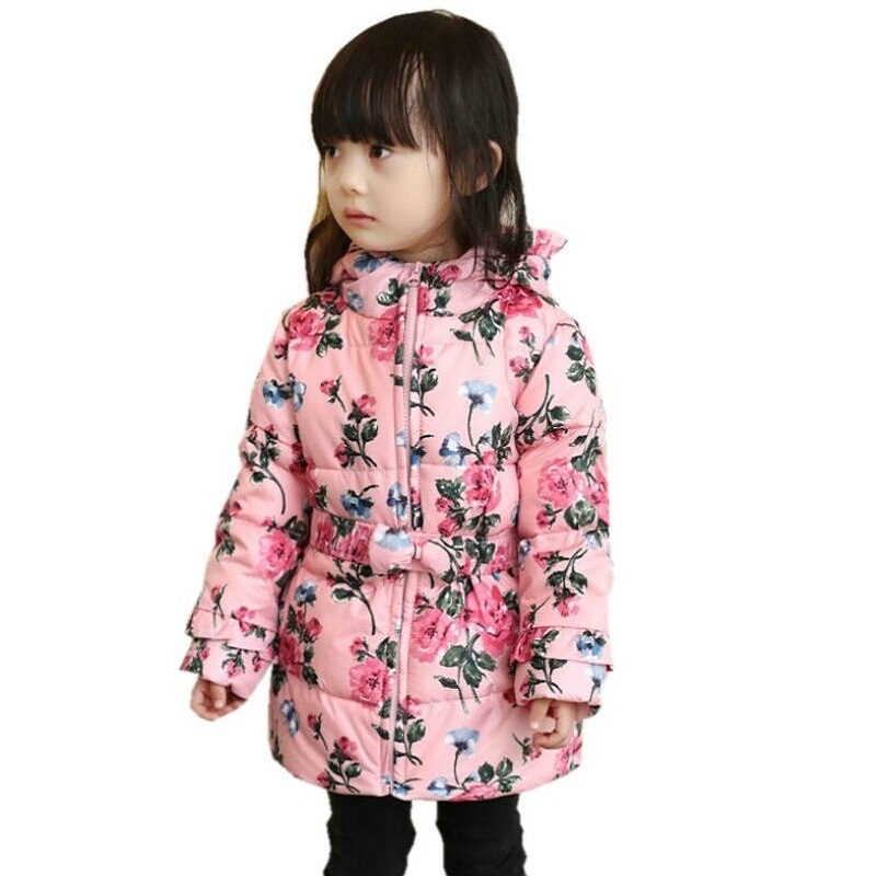 2016 Spring Winter 90 Down Girls Coat Thick Hooded Duck Down Children Floral Jacket Medium long