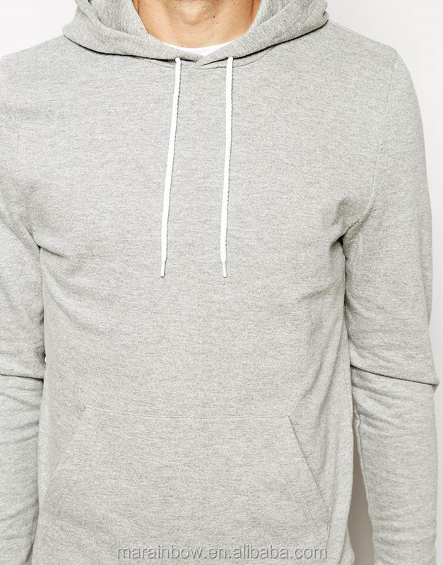 Lightweight 100% Cotton French Terry Mens Plain Grey Pullover ...