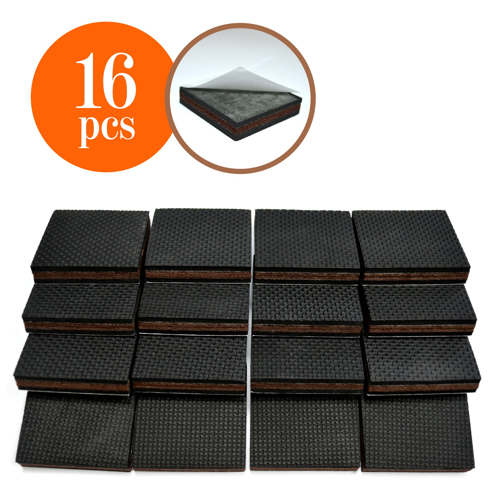 Non Slip 16 Square Furniture Pads Premium Rubber Felt Feet 2 Best Hardwood Floor Protectors And Fix All High Effective