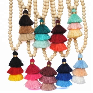 Long Mala Wooden Bead Tassel Necklace Jewelry Latest Design Wood Bead Necklace With Ombre Tassel