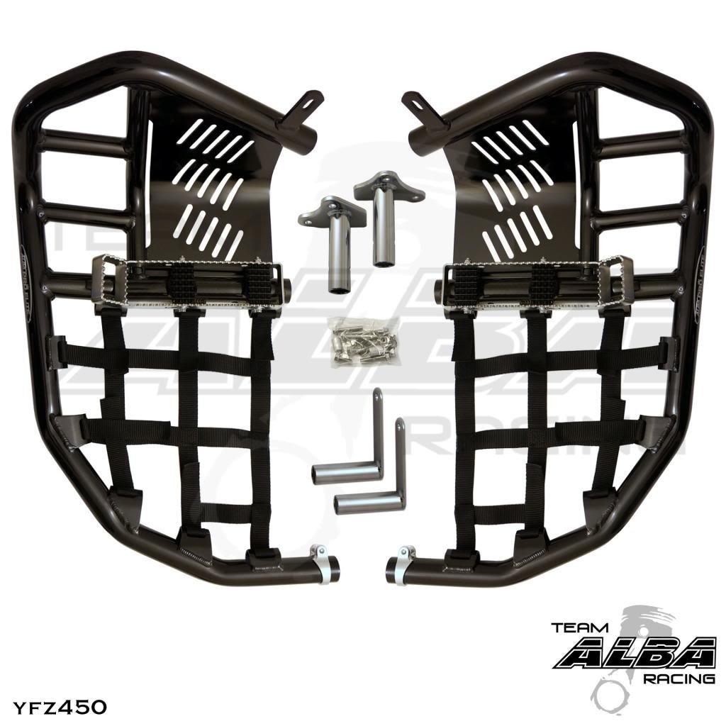 Yamaha YFZ450 YFZ 450 Nerfbars Atv Nerf Bars Black Bars//Blue Nets