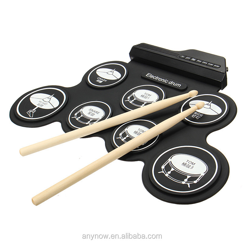 Foldable electronic drum set portable roll up digital drum kit silicone drum set with high quality