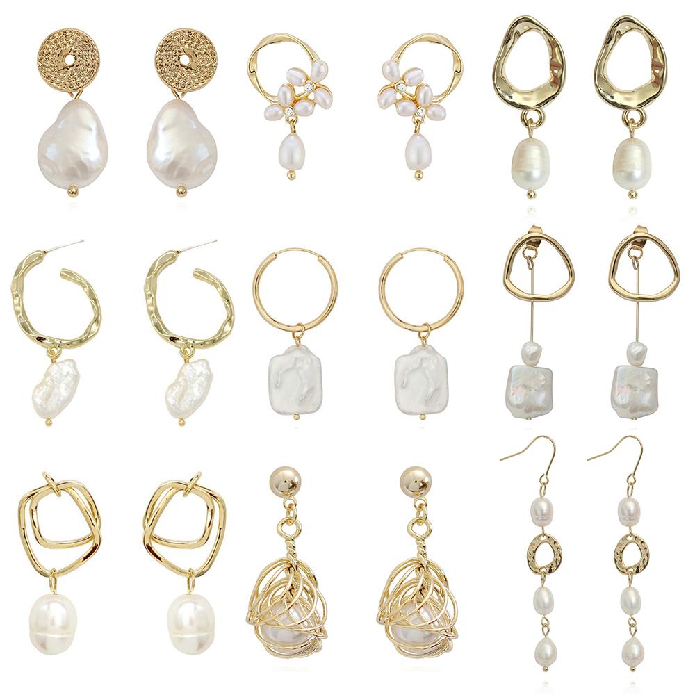 2021 new design women Korean Real gold plated brass baroque fresh water pearl earrings