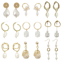 2019 new design women Korean 18K gold plated brass baroque fresh water pearl earrings