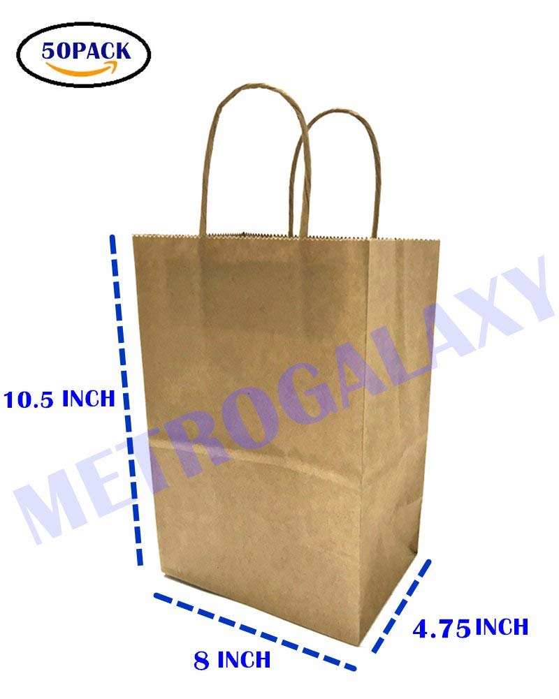 Get Quotations Metrogalaxy 8 X4 75 X10 5 Medium Kraft Paper Bags