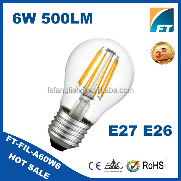 China Supplier B22 E26 E27 socket Dimmable 6w led filament bulb,filamnt led