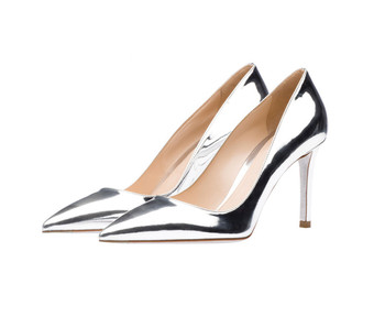 61f4e7f108d Ladies Fancy Party Wear Pumps Elegant Pointed Toe Metallic Leather Mature Women  Silver High Heel Shoes